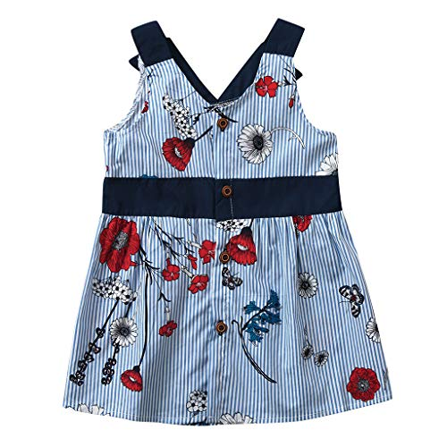 Kids Girls Bow Dresses YESOT Princess Dresses Party Sleeveless Tops Knee-Length Maxi Dresses (3-4 Years) -