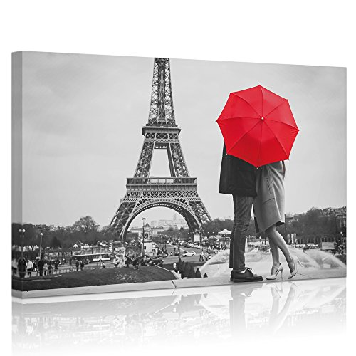 Welmeco - Modern Canvas Wall Art Romance Paris Eiffel Tower Loving Couple under Red Umbrella Landscape Picture Black and White Prints Home Office Bedroom Decoration Ready to Hang (Under Eiffel Tower)