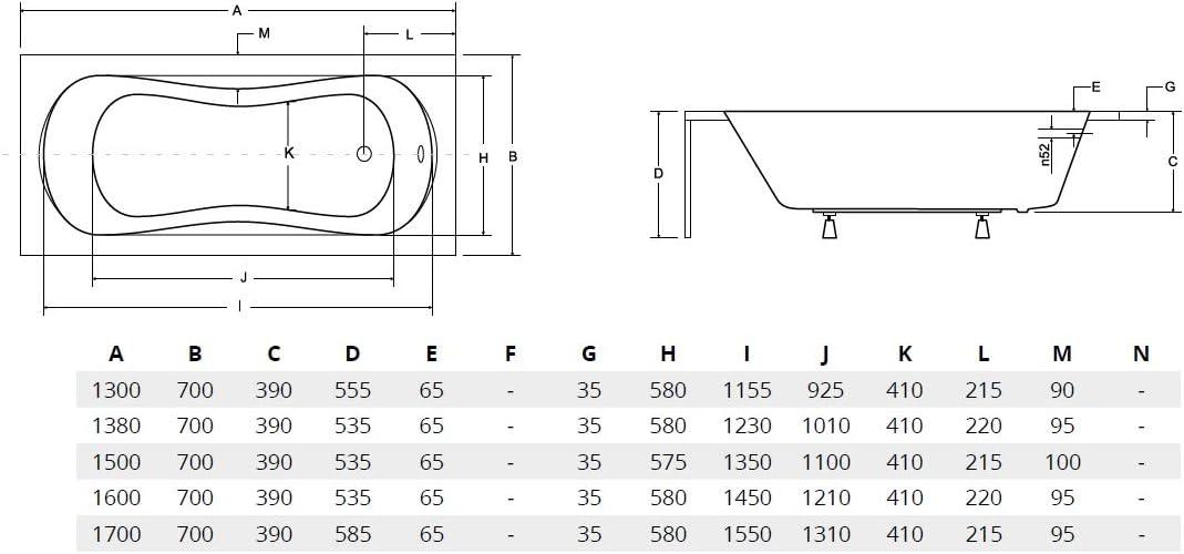 BADLAND Rechteck Badewanne Ari 170x70 mit Wannentr/äger Handgriffen Ablaufgarnitur und F/ü/ßen GRATIS