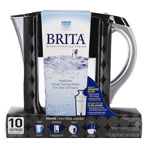 2 PACK Brita Grand Water Filter Pitcher, Black Bubbles, 10 Cups by Brita