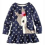 Vovotrade Toddler Baby Girls Kids Autumn Clothes Long Sleeve Deer Tops T-Shirt Dress