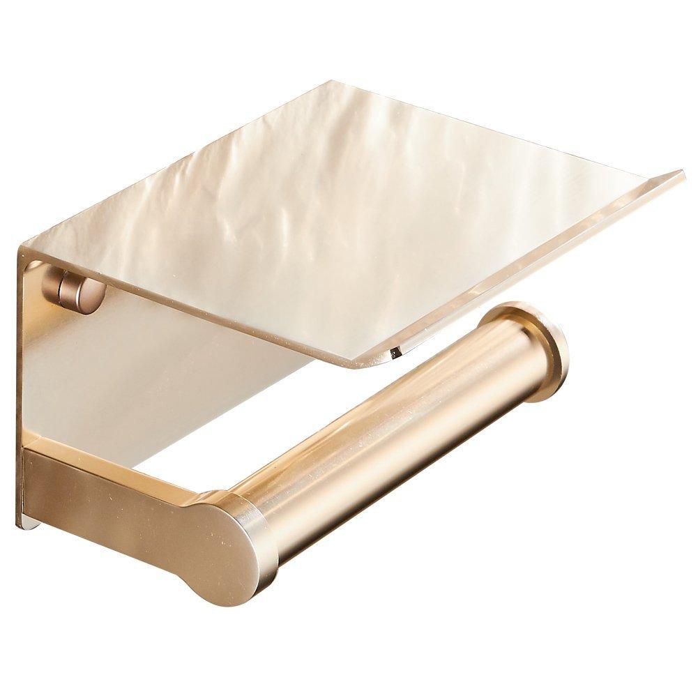 BAIANLE Bathroom Toilet Paper Towel Holder Bathroom Wall Mounted Toilet Paper Holder Mobile Phone Tray Toilet Paper Holder Space Aluminum Material (Golden)