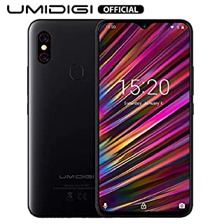 "UMIDIGI F1 Unlocked Phone Android 9.0 6.3"" FHD+ 128GB ROM 4GB RAM Helio P60 5150mAh Big Battery 18W Fast Charge Smartphone NFC 16MP+8MP Factory Phone(Black)"
