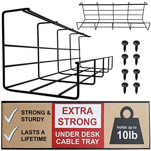 Under Desk Cable Tray - Super Sturdy Cable Organizer for Wire Management. Metal Wire Cable Tray for Office, Studio and Home (Black, 2x16