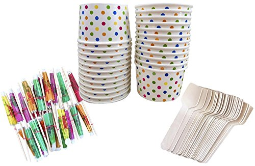 Outside the Box Papers Mini Ice Cream Sundae Kit with 4 Ounce Polka Dot Paper Cups, Mini Wooden Taster Spoons and Paper Umbrellas 24 Pack Pink, Blue, Yellow, Orange (Ice Cream Disposable Cups compare prices)