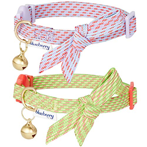 Blueberry Pet 2019 New Pack of 2 Cat Collars, Chic Hottie Diagonal Striped Adjustable Breakaway Cat Collar with Bowtie & Bell, Neck 9