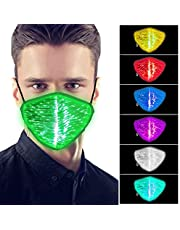 7 Color Lights LED Face Mask Funny Glowing Face Mask Colorful for Men Women Party Bar Dancing Festival Christmas Halloween Masquerade Light Up Mask(2pcs)