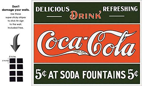 Shop72  Tin Signs Coke Cola 5 Cents At Fountain Retro Tin Sign Vintage Tin Signs