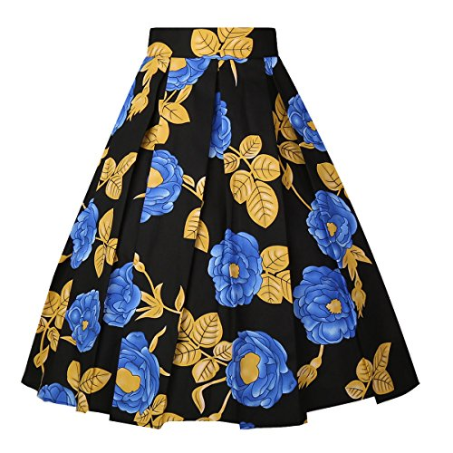 Dresstore Vintage Pleated Skirt Floral A-line Printed Midi Skirts with Pockets Gold Leaf-Black-XX-L