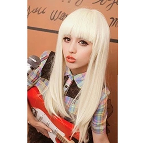 White Blonde Wig with Bangs