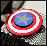 Fidget Spinner Captain America - Smooth Custom Round Shaped Hand Spinner with Ceramic Bearing - Metal and Durable. Stress Reducer Toy & Perfect for ADHD - ADD - Anxiety (Red Silver Blue)