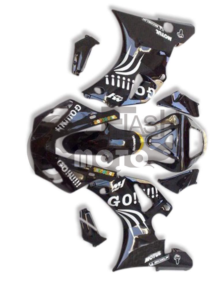 FlashMoto yamaha ヤマハ YZF-1000 R1 2000 2001用フェアリング 塗装済 オートバイ用射出成型ABS樹脂ボディワークのフェアリングキットセット ブラック   B07MNG3YZ7