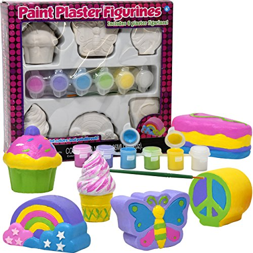 (Decorate Your Own Figurines, Paint Your Own Kids Set - Includes Six Figurines, Paint Brush, Six Pots of Paint)