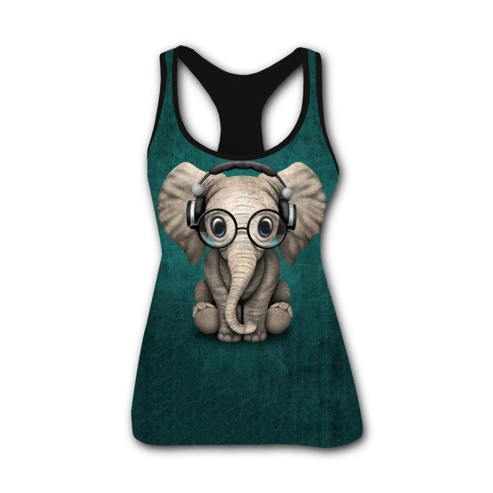 Glasses Elephant Baby Student 3D Print Summer Fashion Sleeveless Tanks Vest T-Shirt Women Girl XXL