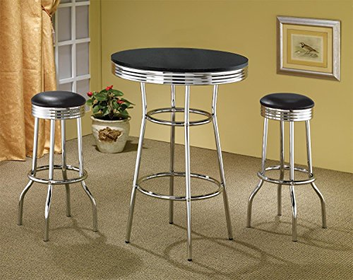 Coaster Home Furnishings Retro 3-Piece Chrome Bar Stools and Table Set (And Crate Vinyl Barrel)