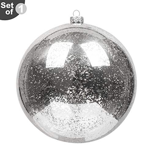 (KI Store Large Christmas Ball Ornament Silver Oversize Decorative Hanging Decoration Mercury Ball 8 Inch Shatterproof Vintage for Xmas)