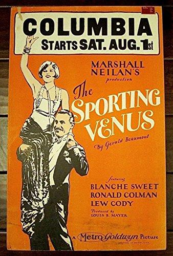 SPORTING VENUS '25 SILENT FILM WINDOW CARD POSTER ~ BLANCHE SWEET RONALD COLMAN