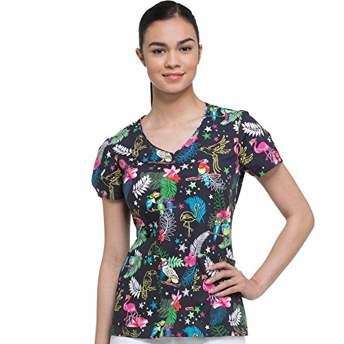 Dickies EDS Signature Women's V-Neck Tropical Print Scrub Top X-Small Print