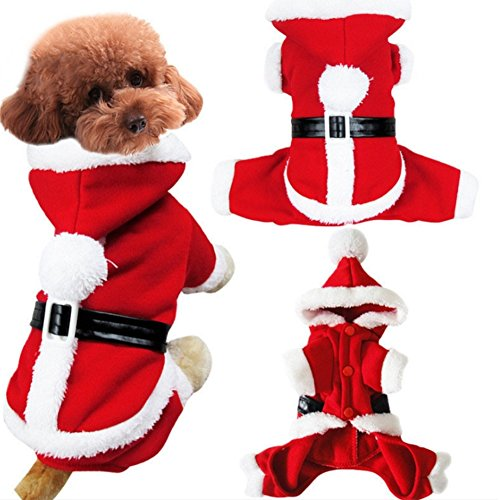Stock Show Pet Christmas Costume Dogs Classic Santa Claus Clothes Xmas Hoodies Outfits for Small Dogs Puppy Breeds -