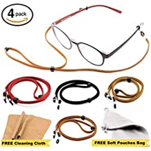 Eyeglass Strap Chain [Pack of 4 + Bonuses] - Eyeglasses Holder Lanyard Chain Cord Necklace - Eyewear Retainer for Men Women Boys Girls - Glasses Lanyard - Never Lose Glasses Again