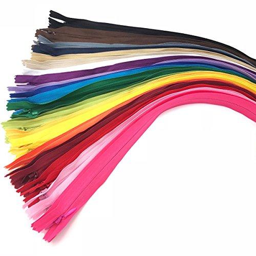 40PCS Invisible Nylon Coil Zipper,DIY Garment Zipper,DIY Sewing Tools for Craft Special(16 inch,Mix Color)