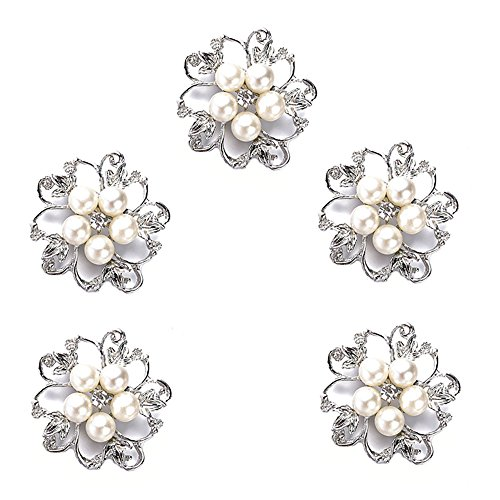 Ezing 5pcs White Faux Pearl Flower Brooch Round Shape ()