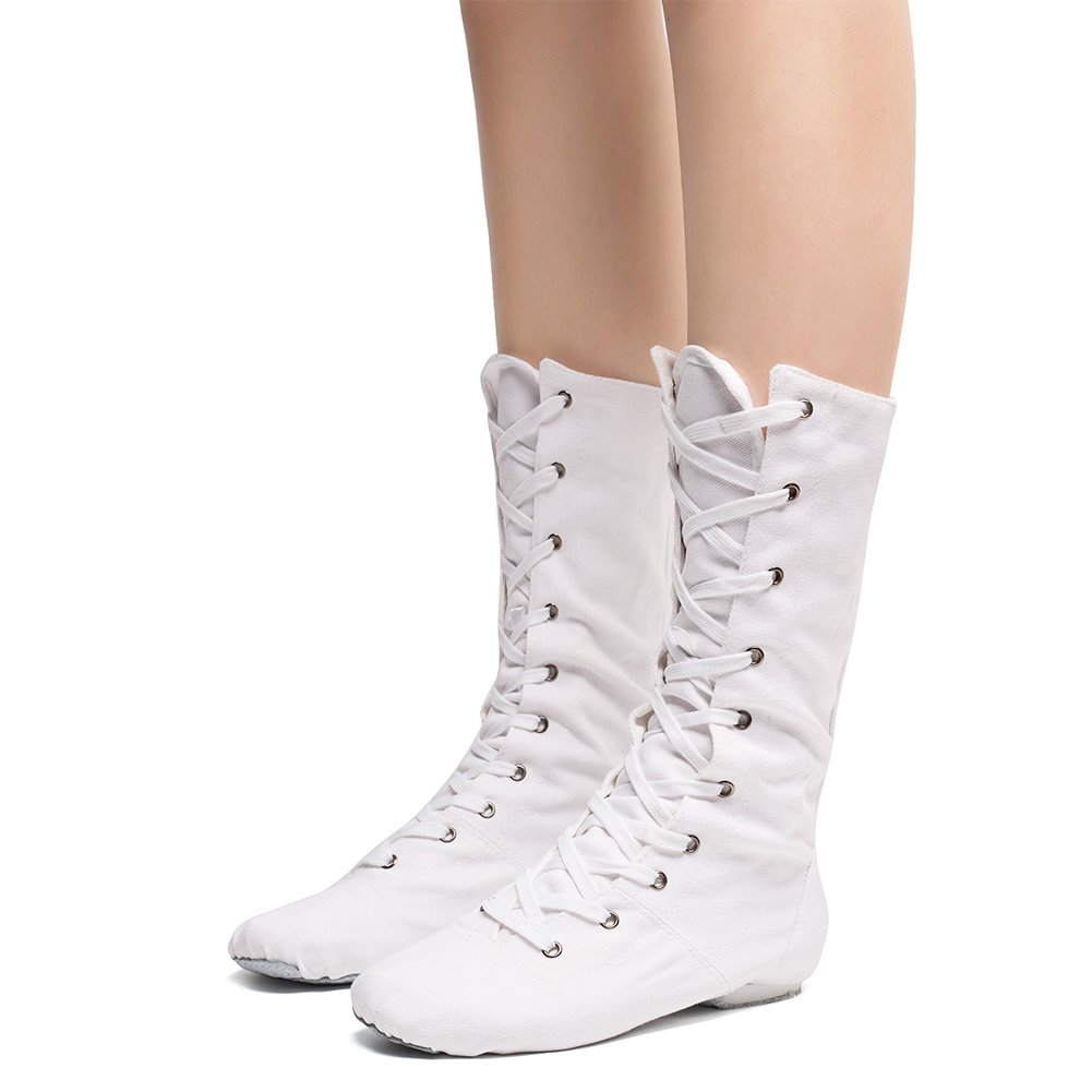 Women's Canvas Cosplay Dance Boots White,6.5 M US