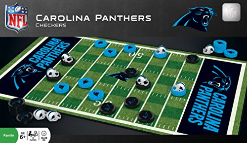 MasterPieces NFL Carolina Panthers Checkers Board Game Set, For 2 Players, Ages 6+