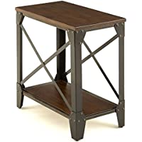 Rustic Chocolate-Finished Living Room Wood Narrow Table With Iron Frame