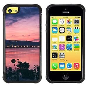 Suave TPU Caso Carcasa de Caucho Funda para Apple Iphone 5C / Sunset Bay Nature Sea Ocean Purple / STRONG