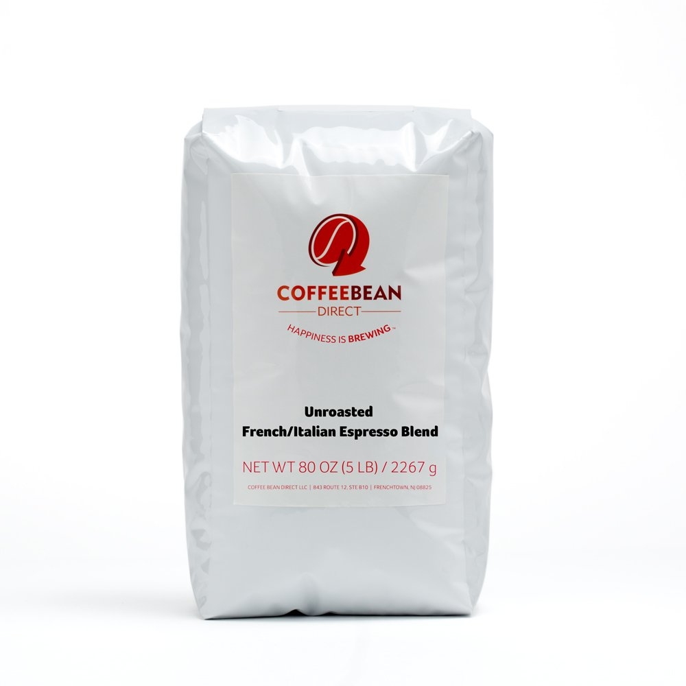Green Unroasted French/Italian Espresso Blend, Whole Bean Coffee, 5-Pound Bag by Coffee Bean Direct