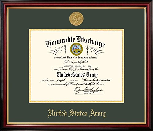 Campus Images ARDPT001 Army Discharge Petite Frame with Gold Medallion, 8.5'' x 11''
