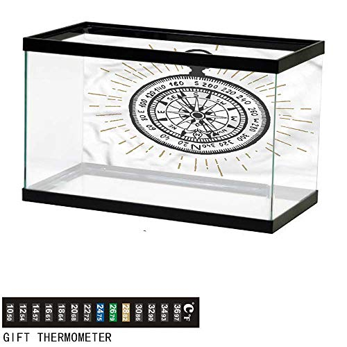 bybyhome Fish Tank Backdrop Compass,Vintage Sea Navigation,Aquarium Background,30