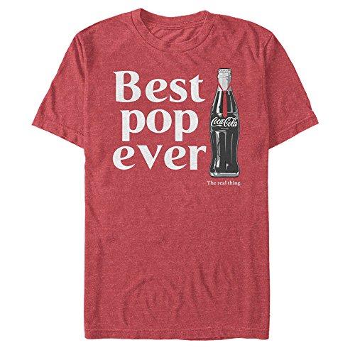 Coca Cola Men's Best Pop Ever Bottle Red Heather T-Shirt