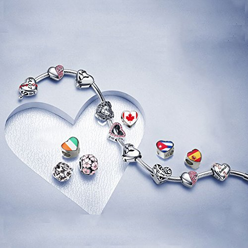 Costa Rica flag Heart 92.5 Solid Sterling Silver Delicated Charms Bracelet Necklace Beads Waist Beads 6mm Hole Craft Metal Beads floating Charms for Women