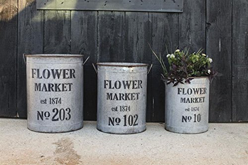 Round Metal Finish Flower Market Buckets Pails Set Of 3 Country Home Floral Decor