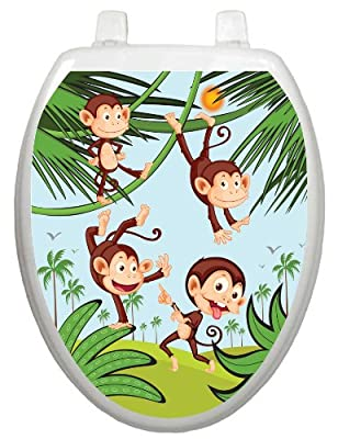 Toilet Tattoos, Toilet Seat Cover Decal, Monkey Business, Size Elongated