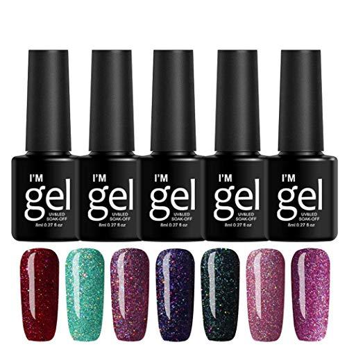 HOTUEEN 8mL 19 Colors Long Lasting Glitter Gel Nail Polish Beauty Art Tools Salon Nail Art Equipment