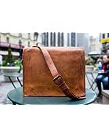 Leather Full Flap Genuine Men's Auth Real Leather Messenger Laptop Briefcase Satchel Mens Bag (11 X 15)