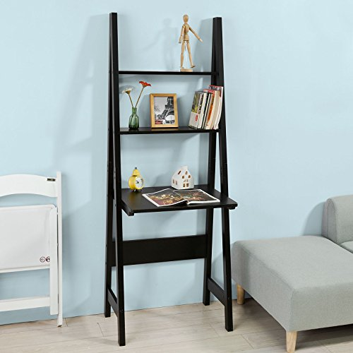 Ladder Desk Bookcase (Haotian Modern ladder bookcase made of wood, book shelf,stand shelf, wall shelf ,corner bookshelf (FRG60-SCH))