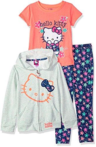 Hello Kitty Big Girls' 3 Piece Zip up Hoodie Legging Set With T-Shirt, Mint, 10