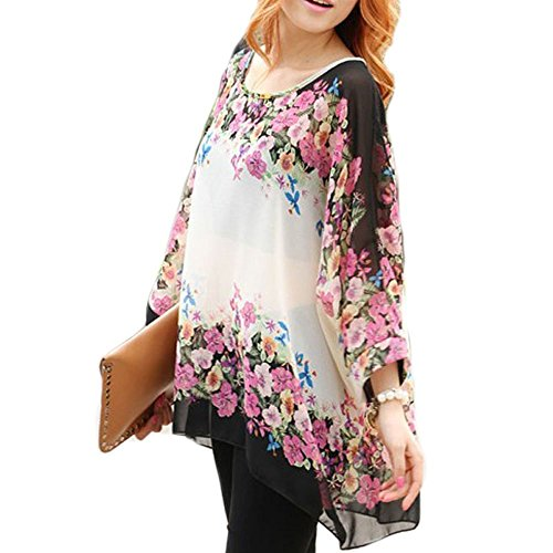 LATH.PIN Mujeres Bohemian 3/4 Sleeve Chiffon Blouse Off Shoulder T-shirt Boho-12