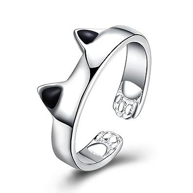 Anillo de boda anillo de compromiso gato oreja de moda anillo elegante mujer joyería romántico anillo para mujeres y hombres regalo: Amazon.es: Joyería