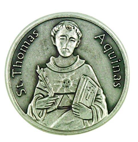 Patron of Academics Saint St Thomas Aquinas Pocket Token with Prayer Back