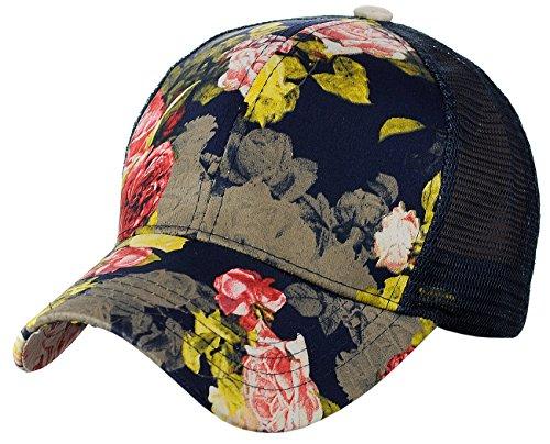 C.C Womens Floral Pattern Adjustable Mesh Trucker Baseball Cap Hat