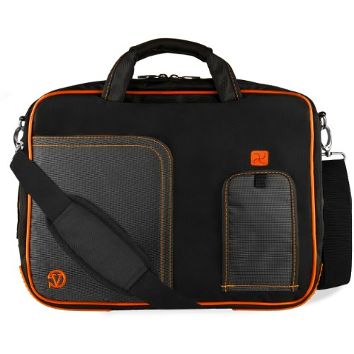 VanGoddy Orange Trim Laptop Messenger Bag for Dell Inspiron