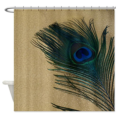 "CafePress Metallic Gold Peacock Decorative Fabric Shower Curtain (69""x70"")"