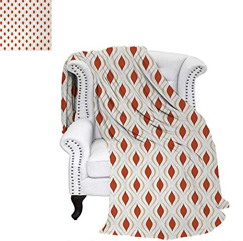 Sienna Saddle - Throw Blanket Retro Motifs with Curved Stripes Ornamental Composition Abstract Shapes Warm Microfiber All Season Blanket for Bed or Couch 70