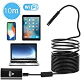Inspection Camera, PEYOU 10M Waterproof IP67 Wireless Borescope WIFI Endoscope with 2 Megapixels HD Camera & Flexible Semi-rigid Cable & 8 Adjustable LED Lights, Snake Inspection Camera/Video for IOS & Android & Windows System Compatible with iPhone & iPad, Samsung Phone & Tablet, PC and More
