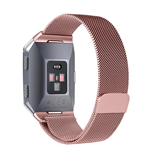 For Fitbit Ionic Bands, bayite Stainless Steel Milanese Loop Metal Replacement Strap with Unique Magnet Lock Accessories for Fitbit Ionic Large Rose Pink